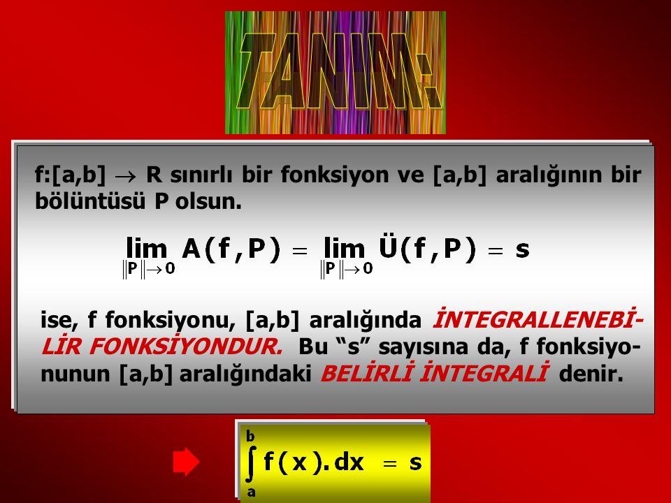 TANIM: f:[a,b]  R sınırlı bir fonksiyon ve [a,b] aralığının bir bölüntüsü P olsun.